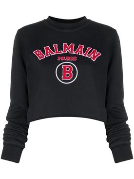 Cropped collegiate logo sweatshirt