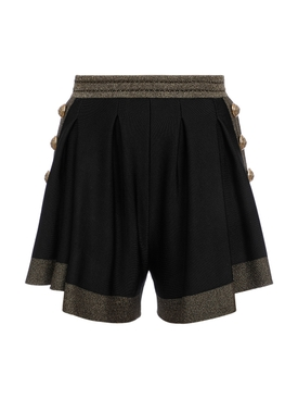 Black metallic knit shorts