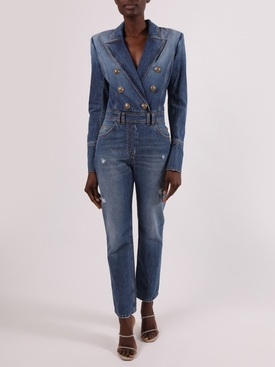 Double-Breasted Denim Jumpsuit