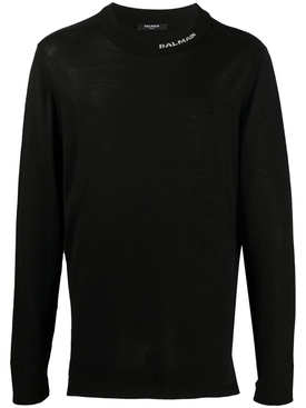 Wool knit pullover sweater BLACK