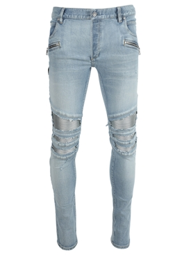 Light blue distressed ribbed slim-fit jeans