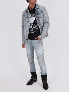 Light blue distressed ribbed slim-fit jeans