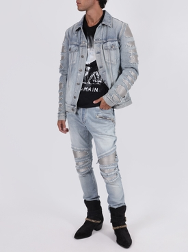 Light blue destroyed denim jacket