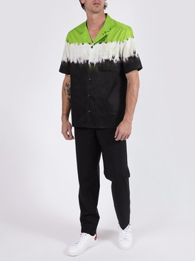 Dip Dye Print Short Sleeve Shirt FLUORESCENT GREEN