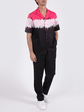 Dip Dye Print Short Sleeve Shirt FLUORESCENT PINK