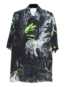 Jungle mural short sleeve shirt JUNGLE BLACK