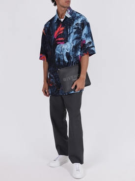 Jungle mural short sleeve shirt JUNGLE BLUE