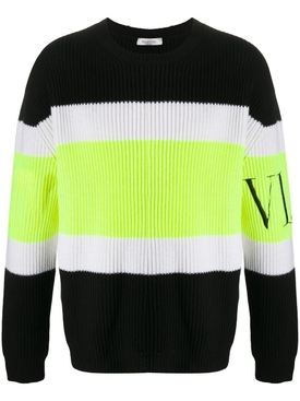 Multicolored wool rib sweater