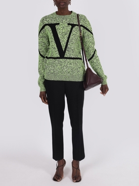 Green Oversized logo pull over sweater