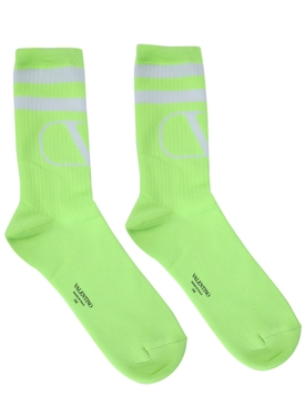 Knit logo socks FLUORESCENT YELLOW