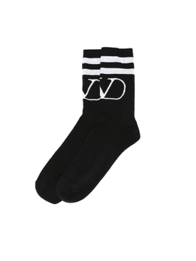 Knit logo socks BLACK WHITE