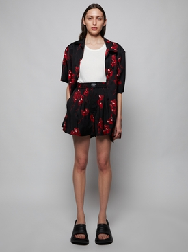 Heart Print Hawaiian Short-sleeve Shirt, Black and Red