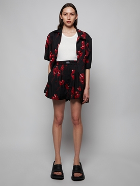 Heart Print Shorts Black and Red