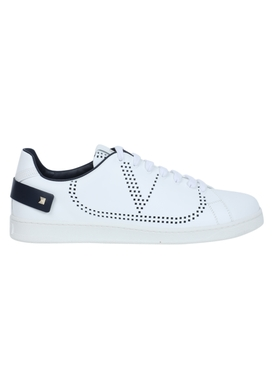 Leather backnet low-top sneaker WHITE MARINE