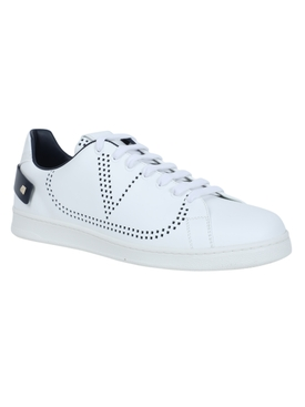 Leather backnet low-top sneaker WHITE/MARINE