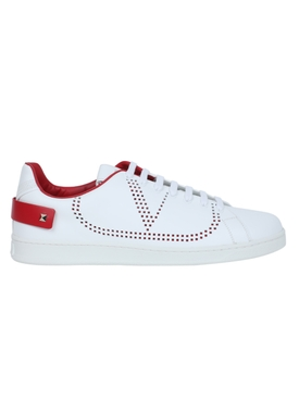 Leather backnet low-top sneaker WHITE ROUGE