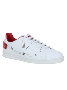 Leather backnet low-top sneaker WHITE/ROUGE