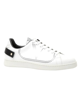 Leather backnet low-top sneaker WHITE BLACK