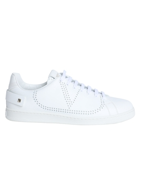 Leather backnet low-top sneaker WHITE