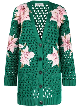Floral knit cardigan, green