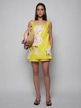 Floral Print Playsuit, Bright Yellow