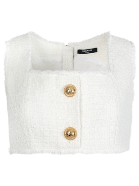 CROPPED BUTTONED TWEED STRAP TOP, Blanc
