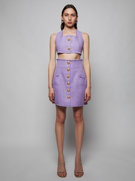CROPPED BUTTONED TWEED STRAP TOP, Lavender