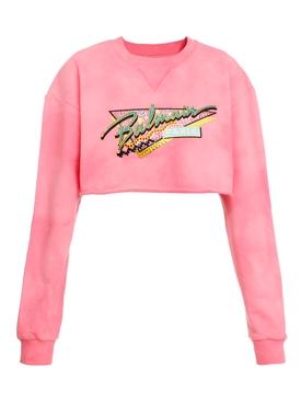 Pink Tie-dye Cropped Sweatshirt