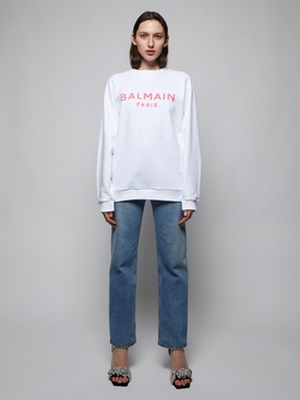 Logo graphic branded jumper WHITE AND PINK