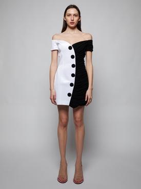 Black and white draped dress