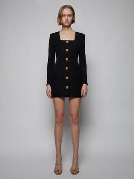 Square neck buttoned mini dress, black