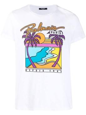 Palm Tree Graphic T-shirt Blanc