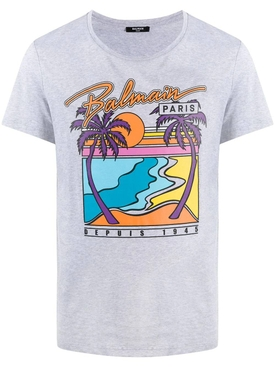 Palm Tree Graphic T-shirt, Grey