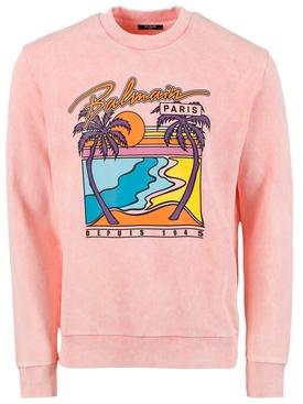 Palm Tree Logo Print Sweatshirt, Rose Pink