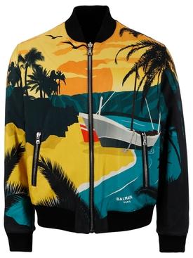 Reversible Tropical Print Bomber Jacket