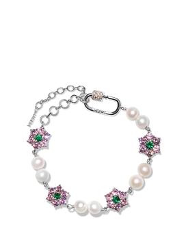 Macro Pink and Green Flower Stone Freshwater Pearl Bracelet