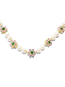 Micro Pink and Green Flower Stone Freshwater Pearl Bracelet