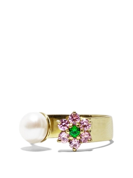 Pink and Green Flower Freshwater Pearl Ring Yellow Gold