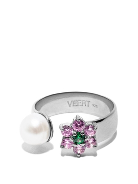 Pink and Green Flower Freshwater Pearl Ring White Gold