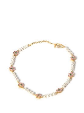 Pink and Green Flower Stone Freshwater Pearl Necklace Yellow Gold