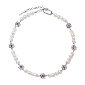 Pink and Green Flower Stone Freshwater Pearl Necklace White Gold