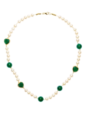 Green Onyx Freshwater Pearl Necklace