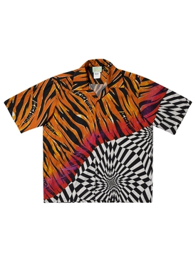 Vault X Aries Distorted Tiger Check Short-sleeve Shirt