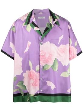 Silk Floral Short Sleeve Shirt, Light Ametista