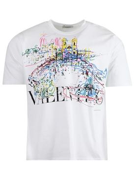 Roman Sketches Graphic Print T-shirt, White