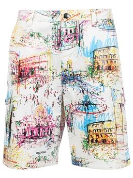 Roman Sketches Bermuda Shorts