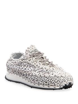 Macramé Crochet Sneakers, White