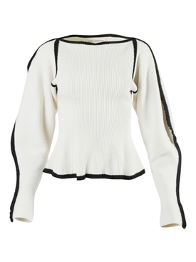 Ivory and Black Trim Nova Sweater
