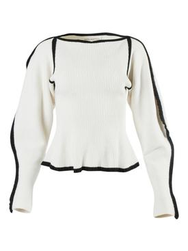 Ivory and Black Trim Nova Sweater