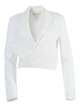 Catalina Front-Tie Blazer Top White
